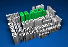 Brazil economy and trade investments for GDP growth, 3D rendering. Concept for Brazilian investment in economy, business, and trade markets to increase national Stock Photography