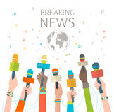 Concept of breaking news. / hot news / multicultural hands and microphone / vector illustration