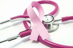 Concept of Breast Cancer. Pink ribbon near the pink-purple stethoscope doctor of breast screening, symbolizing the diagnosis, trea. Tment, fight, awareness and stock photos