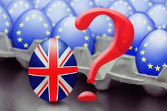 Concept of Brexit is presented from jumping egg with a British flag out of the box with eggs with the flag of the European Union royalty free stock images