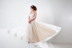 Concept of bride going towards future happiness. Portrait of a beautiful girl in a wedding dress. Stock Photography