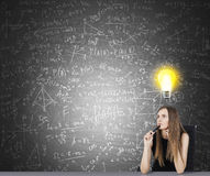 Concept of bright idea in research Stock Images