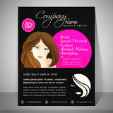 Concept of brochure, flyer and template for beauty parlour. Stock Photos