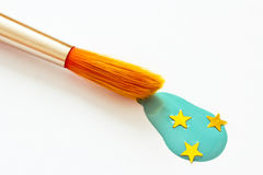 Concept of brush painting a blue and starry sky Stock Photography