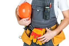 The concept of a builder, builder, trader or manual worker. isolated on white background stock photos