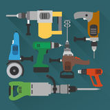 Concept builders tools modern flat background Royalty Free Stock Photos