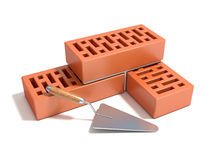 Concept of building the brick wall Royalty Free Stock Image