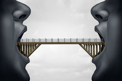 Concept of Building Bridges. As two people with open mouth as a bridge connect the two as a symbol for negotiation or business agreement with 3D illustration vector illustration
