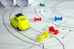 Concept of building cars, office supplies color buttons stock photo