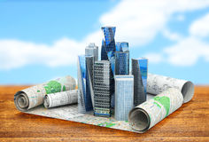 Concept of building cities for business publications. Royalty Free Stock Photography