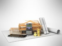 The concept of building a country house calculation of building. Materials saving money calculator communication phone 3d render on gray background Royalty Free Stock Photos