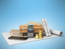 The concept of building a country house calculation of building. Materials saving money calculator communication phone 3d render on blue background Royalty Free Stock Images