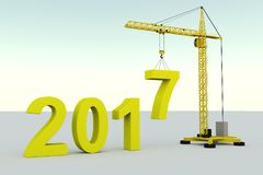 2017 concept building. Crane white background 3d illustration Stock Photos