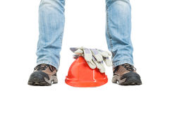 Concept of building with workman and safety equipment Stock Photo