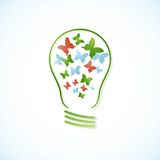 Concept bulb with butterflies. Vector illustration Royalty Free Stock Photo