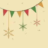 Concept of bunting with hanging snowflake. Royalty Free Stock Images