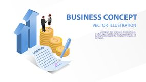 Concept business. agreement contract. vector. Concept business. Business people standing on a signed contract and agreement for increase the company profit Royalty Free Stock Photo