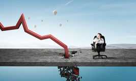Concept of business collapse . Mixed media Royalty Free Stock Photos