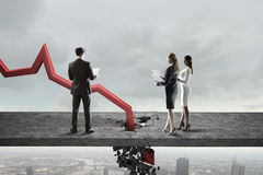 Concept of business collapse . Mixed media Stock Image