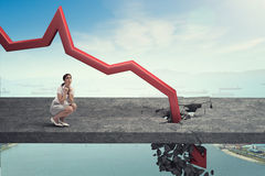 Concept of business collapse . Mixed media Royalty Free Stock Images