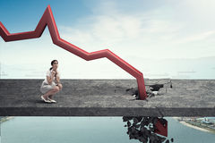 Concept of business collapse .  Mixed media Royalty Free Stock Photo