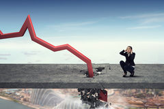 Concept of business collapse . Mixed media Royalty Free Stock Photography