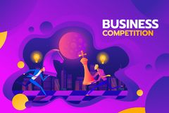 Concept of business competition. Businessmen hold chess pieces in hands of punching as a symbol of rivalry, competition vector illustration
