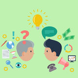 Concept for business consulting support. Concept of business consulting with brainstorm and teamwork  of two professionals on green background Royalty Free Stock Photos
