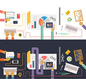 Concept of business. Data collection. Analysis. Concept of business process, worlflow top view. Data collection and analysis. Teamwork concept in flat design Royalty Free Stock Photos