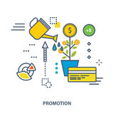 Concept of business development and promotion. Growth of investments, increase profits. Color Line icons. Flat Vector illustration Royalty Free Stock Image
