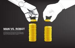 Robot and human hand stack the coin. stock illustration