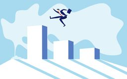 Concept of business financial success. Businessman jumping on raising the graph celebrating their success. Cartoon Vector Illustration Stock Images