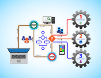 Concept business flow, this also represents business process, workflow, strategy. Business people, users, clients, employees are opting for different options stock illustration