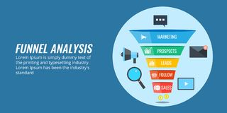 Sales data, business funnel analysis, lead generation process. Flat design vector banner. Concept of business funnel analysis, optimizing marketing process with Royalty Free Stock Images