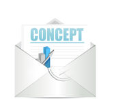 Concept business graph mail sign concept. Illustration design over white Stock Photo