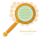 Concept business icon gold coins throught magnifying glass Royalty Free Stock Image