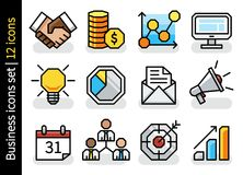 Concept business icons set - 12 icons. Concept business icons set - 12 modern flat color icons. Vector illustration Stock Image
