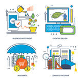 Concept of business investment, creative design, insurance and courses program. Royalty Free Stock Photography