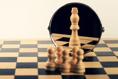 Concept of business leadership teamwork power and belief. Chess pieces Royalty Free Stock Photos