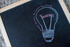 Concept - business light bulb drawn with chalk on a blackboard Stock Images