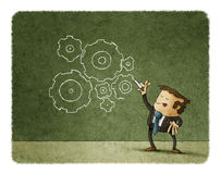 Concept of business, man drawing gears Stock Photo