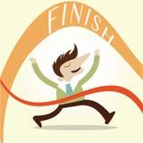 Concept,Business man race finish. Vintage cartoon business  design Stock Photos
