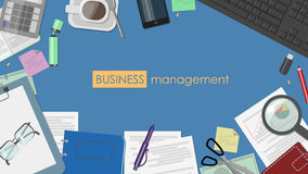 The concept of business management. Desk with documents and stat. Ionery top view. Vector flat Royalty Free Stock Photo