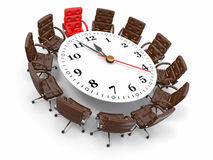 Concept of business meeting or brainstorming. 3d. Concept of business meeting or brainstorming. Circle table as clock and armchairs. 3d royalty free illustration