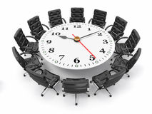 Concept of business meeting or brainstorming. 3d. Concept of business meeting or brainstorming. Circle table as clock and armchairs. 3d stock illustration