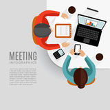 Concept of business meeting, brainstorming, teamwork,. Flat design,  background Stock Images