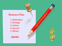 Concept. Business plan. Business plan which consists of the five important parts Royalty Free Stock Photos