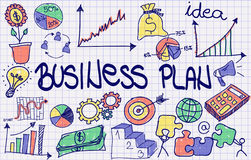 Concept of business plan. In color – business design with icons, diagram, graphs and charts Royalty Free Stock Photos