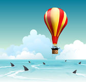 Business risk, Financial Goal Failure, Sales and Marketing. Concept for business risk, financial goal failure, loss of hope and dream. Hot air balloon risk of stock photography