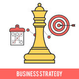 Concept of business strategy. Icon design concept of business strategy, chess game, getting the goal. Modern flat line vector logo pictogram illustration Stock Image